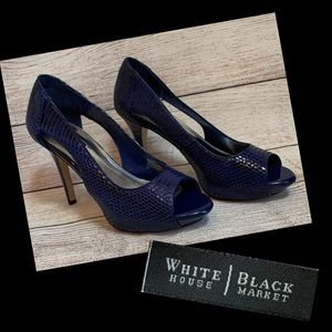 WHBM Blue Faux Snake Skin Peep Toe Pumps